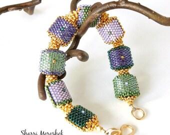 Beaded Bead Bracelet - Mardis Gras purple gold green - by Sharri Moroshok