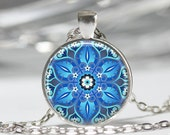 Dazzling Blue Kaleidoscope Necklace Mandala Jewelry Geometric Floral Art Pendant in Bronze or Silver with Link Chain Included