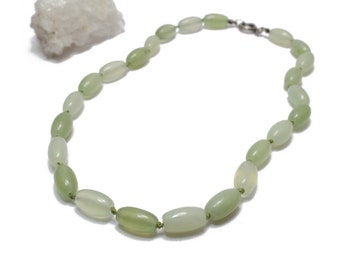 Green Jade Necklace Hand Knotted Necklace 18""