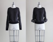 Chunky Heart Sweater . Black and White Knit Pullover . 80s Sweater