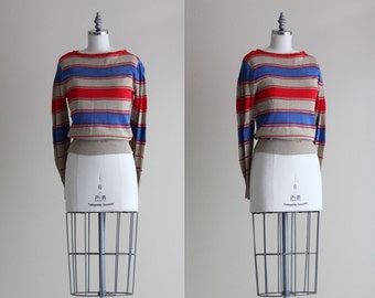 Vintage Pointelle Sweater . Womens Pullover Sweater . Striped Puff Sleeve Sweater
