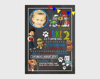 5 x 7 Printed Invitation- Paw Patrol