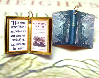 Wuthering Heights by Emily Bronte - Miniature Book Shaped Charm Quote Pendant- for charm bracelet or necklace. Custom available!