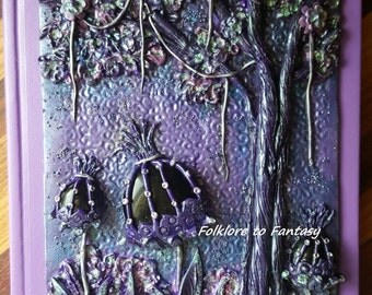 Polymer Clay *Purple Hues* Journal Cover - Folklore To Fantasy