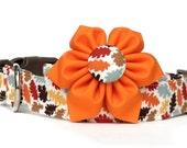 Fall Dog Collar / Fall Leaves Dog Collar / Autumn Dog Collar / Thanksgiving Dog Collar / Dog Collar and Flower / Orange Brown Dog Collar