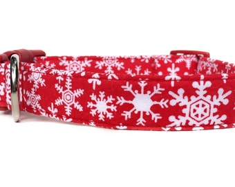 Christmas Dog Collar / Snowflake Dog Collar / Red White Snowflake Dog Collar / Winter Dog Collar / Red White Dog Collar / Holiday Dog Collar