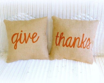 Burlap Pillow Set Thanksgiving Give Thanks