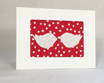 Love Birds - Valentine Card - Handmade Greeting Card - Fabric Greeting Card - Red and White - Anniversary Card - Love Card