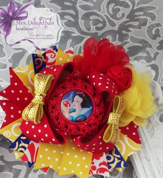 boutique stacked bow princess bow red blue and yellow bow character bow