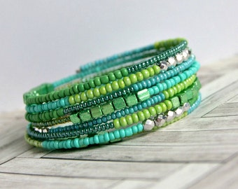 shimmering mermaid green memory wire bracelet