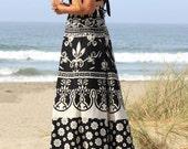 Black and White Boho Maxi Skirt One Size