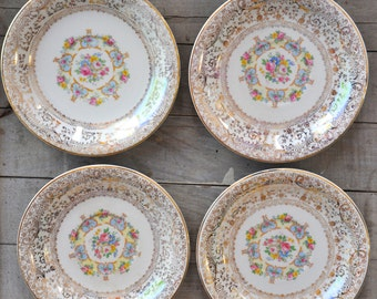 Set of 4 Vintage China Floral Pink Rose Saucers - Parisian Center Made in USA 22K Gold