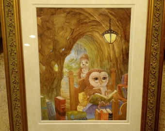 An Owl's Tale Signed Print in an 11x14 Decorative Gold Frame