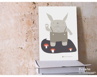 My Name is Rabbit, Retro Kids Poster A4 Art Print