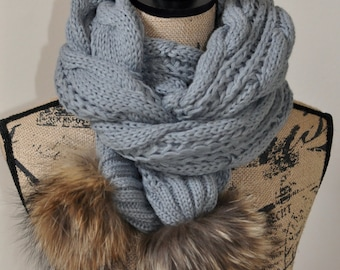 Fur Pom Poms Scarf Women Scarf Long Scarf CHOOSE COLOR Gray Cabled Warm Winter Scarf Women Scarf Christmas Gift under 50