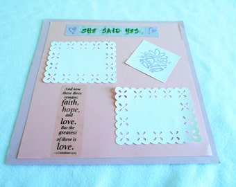 Wedding scrapbook, 12 x 12 premade page, hand stamped wedding bells, die cut, 1st Corinthians, unique wedding, engagement, or shower gift