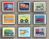 transportation art prints, cars trucks wall art decor, brody bedding art prints, boys nursery art