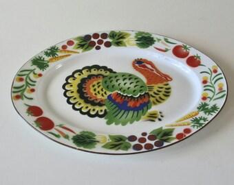 Vintage Enamel metal Turkey Platter,Enamelware, Large