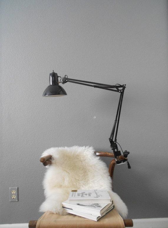 vintage adjustable industrial metal swing arm black lamp // mount included