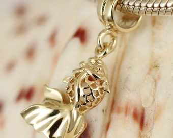 SALE Genuine Solid 9ct 9K Gold Goldfish Charm Great for Bead Bracelets or Necklace