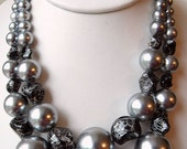 Vintage Double Strand Necklace Plastic Silver & Sculpted Black Beads