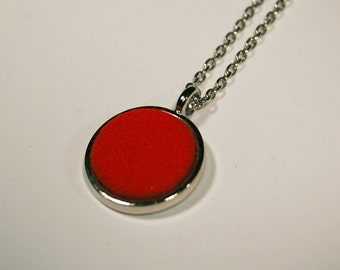 "Red Fabric Swatch 3/4"" Pendant Necklace - Repurposed Materials"