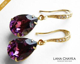 Amethyst Purple Crystal Earrings Swarovski Rhinestone Amethyst Gold Earrings Amethyst CZ Teardrop Earrings Wedding Amethyst Jewelry Bridal