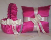 Fuchsia Hot Pink Satin With Ivory Cream Ribbon Trim Flower Girl Basket And Ring Bearer Pillow Set 2
