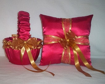 Red Satin With Gold Ribbon Trim  Flower Girl Basket And Ring Bearer Pillow Set 1