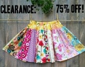 75 Percent Off Was 44 Dollars Cotton Skirt size 10/12 Pink Blue Red Yellow Orange Green Purple White - Girls Size 10 Swing Skirt Sale