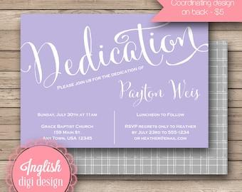 Calligraphy Dedication Invitation, Calligraphy Printable Dedication Invite, Script Dedication Invitation, Script Dedication Invite in Purple