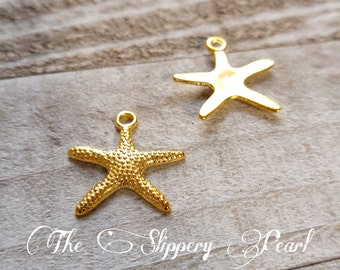 Gold Starfish Charms Starfish Pendants Gold Charms Sea Charms Nautical Charms Ocean Charms Ocean Life Charms Wholesale Charms 10 pieces