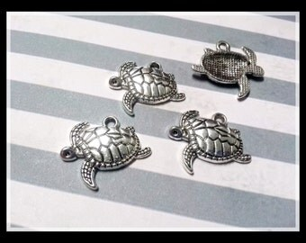 Sea Turtle Charms Turtle Charms Pendants Antiqued Silver Ocean Charms Sea Charms Nautical 10 pieces