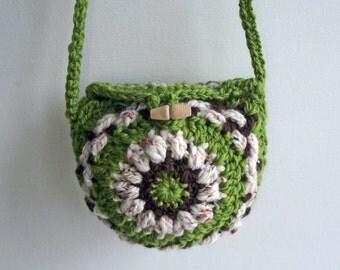 Crossbody Bag, Merino Crochet Purse, Green Cream Brown Bag, Handspun Festival Purse, Small Crochet Pouch, Green Shoulder Purse, OOAK  Bag