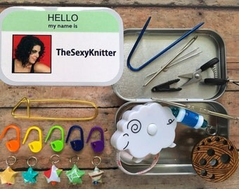 Hello my Name Is & Ravatar: The Knitter's Tool Altoid Tin with notions for your Knitting Project Bag