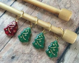 Christmas Tree Stitch Markers - Set of 4