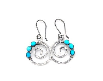 Spiral Turquoise Earrings, Hammered Spiral Turquoise Dangle Earrings, AAA Sleeping Beauty Turquoise