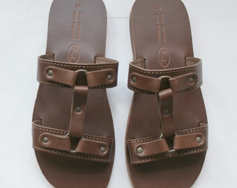 SALE!!!Men's leather slides/Greek leather sandals