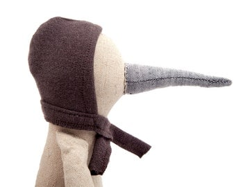 Modern toy eco doll - Plush natural linen beige rare bird doll with gray beak , dotted brown corduroy & dark hood hat - timo handmade doll