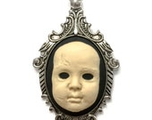 Creepy Baby Doll Cameo Necklace