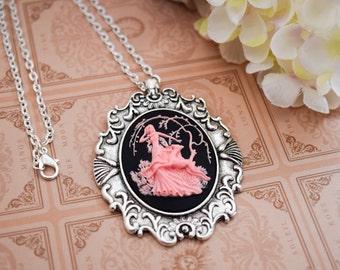 Pink Artemis Deer Cameo Necklace