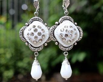 Vintage Rhinestone Button Earrings, Bridal Earrings, Wedding, White, Silver, Bride, Milk Glass, Reclaimed, Upcycled, Jennifer Jones,  OOAK