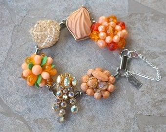 Bridesmaid Gift, Vintage Earring Bracelet, Silver, Upcycled, Bridesmaid Bracelet, Christmas Gift, Jennifer Jones, OOAK - Peaches and Cream