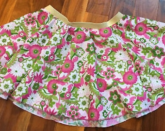 Custom make in your size!  Women's XS to Plus Size 4x -  Green Pink Gold Glitter Flower - cotton gathered skirt