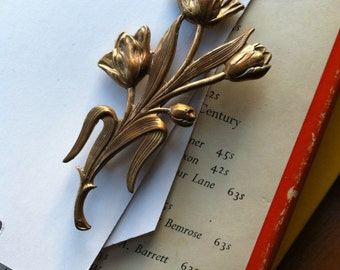 Vintage floral brass tulips brooch