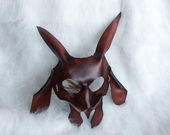 Brown Billy Goat - Handmade Leather Costume Mask - Fantasy Renaissance Festival Masquerade