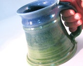 Large Stein -  24 oz.- Tankard - Stein - Blue and Green - Coffee Mug - Handmade Pottery -Pottersong Stein - Denim Jeans Blue - Bright Green