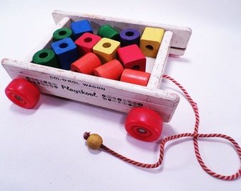 Col-o-Rol Wooden Wagon and Blocks Toy by Playskool Vintage 60s