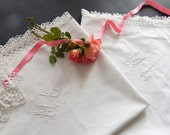 Vintage French Pillow Cases  Pair  Euro Shams in Cotton with Embroidery and Lace