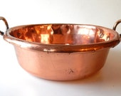 Antique Solid Copper 'Confiture' Pan French from 1800s or early 1900s Solid Copper Artisanally Wrought